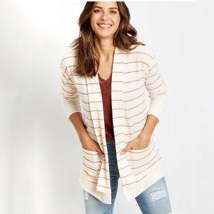 PlusSz XXL Coral Stripe Open Front Pocket Cardigan